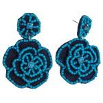 Wholesale seed beaded felt flower blossom drop earrings