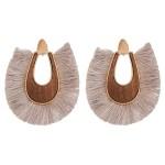 Wholesale wood fringe tassel statement earrings