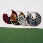 Wholesale faux leather snakeskin encased open hoop disc earrings diameter