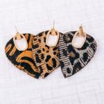 Wholesale faux leather cowhide leopard print hinge cut out earrings