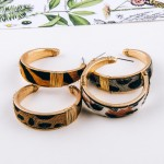 Wholesale cowhide leopard print hoop earrings wire wrapped details diameter cm