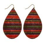 Wholesale thin cork horizontal serape teardrop earrings