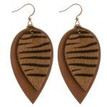 Wholesale cowhide genuine leather layered zebra print earrings