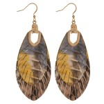 Wholesale metallic genuine leather animal print feather bohemian earrings