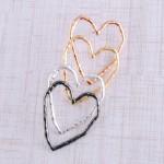 Wholesale oversized hammered heart stud earrings L