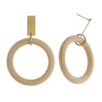 Wholesale circular wood earrings gold metal stud accent