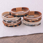 Wholesale three layered faux leather bracelet metal Blessed engraved animal prin