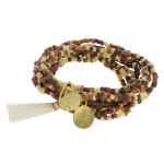 Wholesale boho beaded stretch bracelet set ten beaded strands tassel detail gold