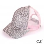 Wholesale c C BT Leopard print glitter pony trucker cap mesh Polyester Adjustabl