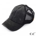 Wholesale c C BT black distressed vintage ponytail cap Mesh back velcro closure