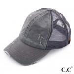 Wholesale c C BT dark grey distressed vintage ponytail cap Mesh back velcro clos
