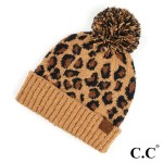 Wholesale c C HAT Leopard jacquard knit pom beanie Polyester One fits most