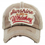 Wholesale vintage distressed baseball cap Sunshine Whiskey embroidered details C