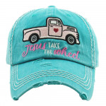Wholesale vintage distressed baseball cap Jesus Take Wheel embroidered details C