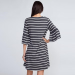 Wholesale can t go wrong striped dress like wardrobe Ruffled sleeves add femini