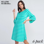 Wholesale can t go wrong striped dress like wardrobe rotation Ruffled sleeves a