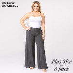 Wholesale solid charcoal plus palazzo pants waist pull styling Inseam Breakdown