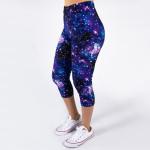 Wholesale peach skin galaxy print capri leggings stars planets moons Inseam One