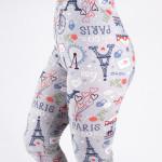 Wholesale peach skin Paris print capri leggings Inseam One fits most Composition