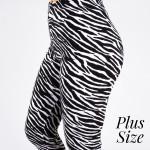 Wholesale pLUS peach skin zebra print capri leggings Inseam One fits most Compos