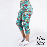 Wholesale pLUS peach skin sugar skull print capri leggings Inseam One fits most