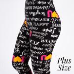 Wholesale pLUS peach skin I Love print capri leggings Inseam One fits most Compo