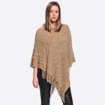 Wholesale popcorn knit poncho fringes One fits most Acrylic Polyester