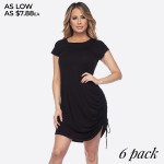 Wholesale short sleeve solid tunic dress adjustable side drawstring o Round neck