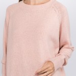 Wholesale solid color heather knitted sweater One fits most Polyester