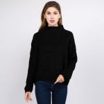 Wholesale solid color chunky knit turtleneck sweater One fits most Acrylic