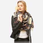 Wholesale square plaid blanket scarf Acrylic