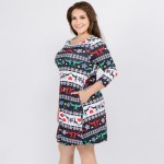 Wholesale women s plus Christmas fair isle reindeer print Line dress pocket deta