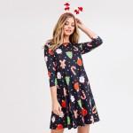 Wholesale women s gingerbread Christmas print line dress pocket details o sleeve