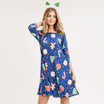 Wholesale women s gingerbread Christmas print line dress pocket details o sleeve