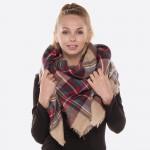 Wholesale plaid blanket scarf frayed edges Acrylic