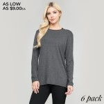 Wholesale women s comfy solid color long sleeve cut out back top o Long sleeves