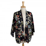 Wholesale lightweight sleeved kimono tropical floral print polyester One fits mo