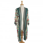 Wholesale lightweight long kimono tropical floral print aztec pattern down front