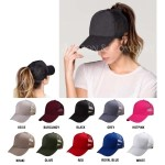 Wholesale cC Pony Cap BT CC ponytail hat mesh back Adjustable velcro back CC lea