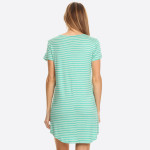 Wholesale striped short sleeve tunic dress Scoop Neckline Short Sleeve Curved He