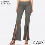 Wholesale women s Flare Pants Front Opening Slits Solid Poly Brushed Flare Palaz