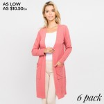Wholesale solid color thin knit cardigan pocket details Long sleeves open front