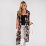 Wholesale pink floral printed kimono waist tie closure One fits most polyester