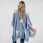 Wholesale ruffled kimono floral details Approximate cotton polyester