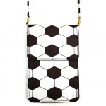 Wholesale faux leather cross body bag soccer ball print inside pockets clear bac