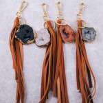 Wholesale large druzy faux leather tassel keychain holder Druzy varies