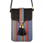 Wholesale aztec print cross body bag clear phone window W L strap