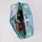 Wholesale mermaid fin zip closure black gold striped hand bag makeup bag wristle