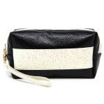 Wholesale metallic faux leather cosmetic travel pouch detachable wristlet Open l