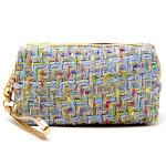 Wholesale tweed cosmetic travel bag open lined inside detachable wristlet W T Wr